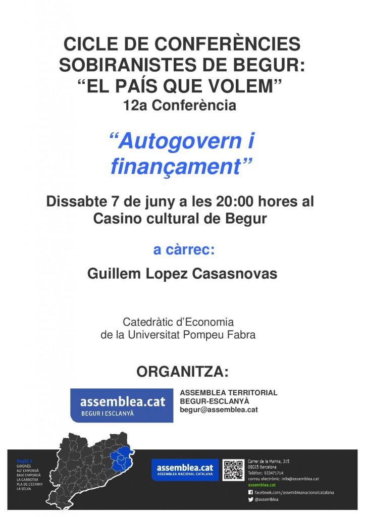 cicle de conferències sobiranistes a begur, conferències a Begur, Guillem Lopez Casasnovas